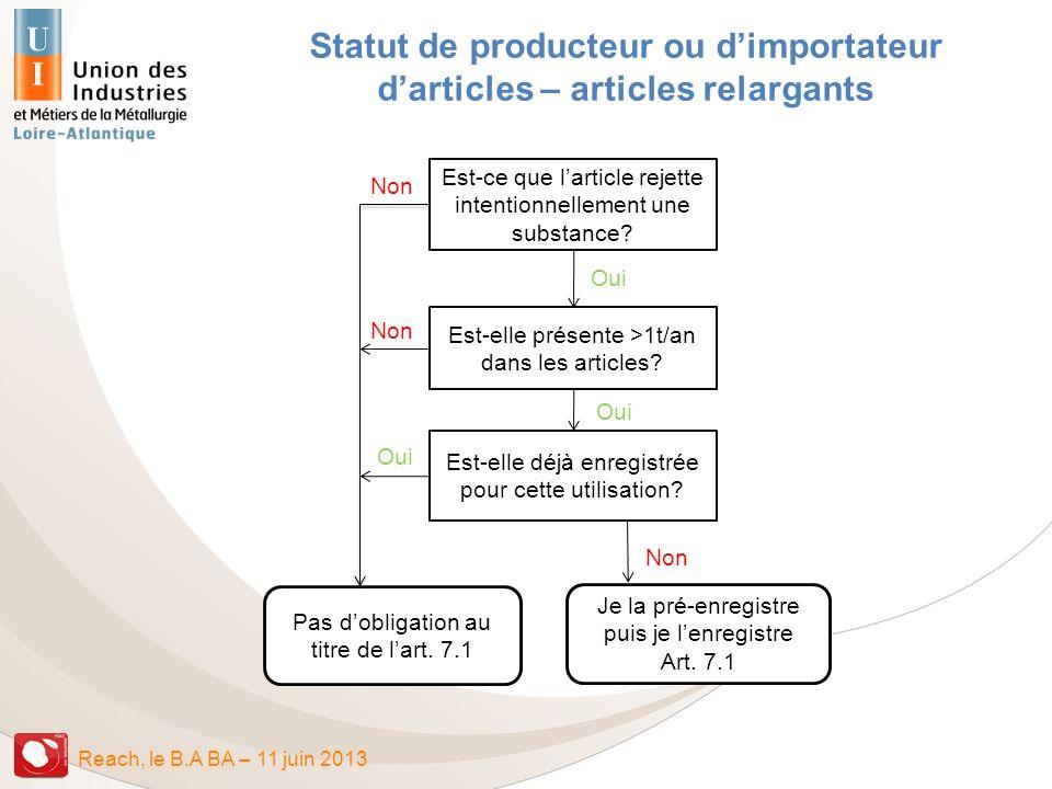 Statut de producteur ou d'importateur d'articles – articles relargants