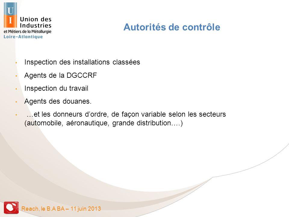 Autorités de contrôle Inspection des installations classées