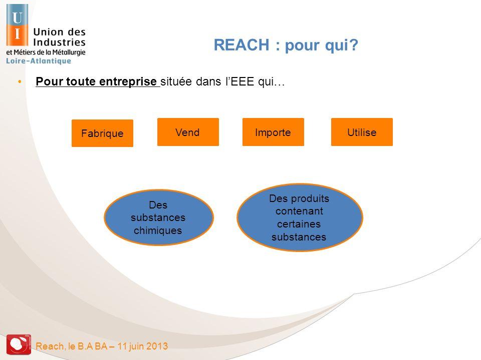 REACH : pour qui Pour toute entreprise située dans l'EEE qui…