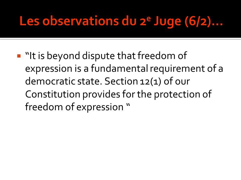 Les observations du 2e Juge (6/2)…