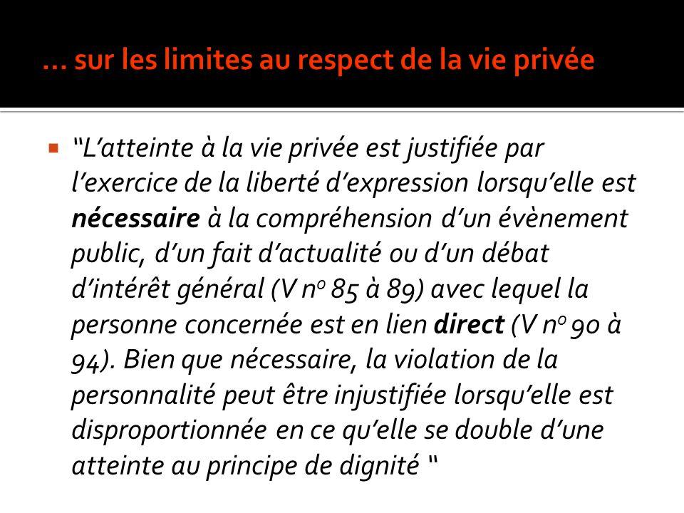 … sur les limites au respect de la vie privée