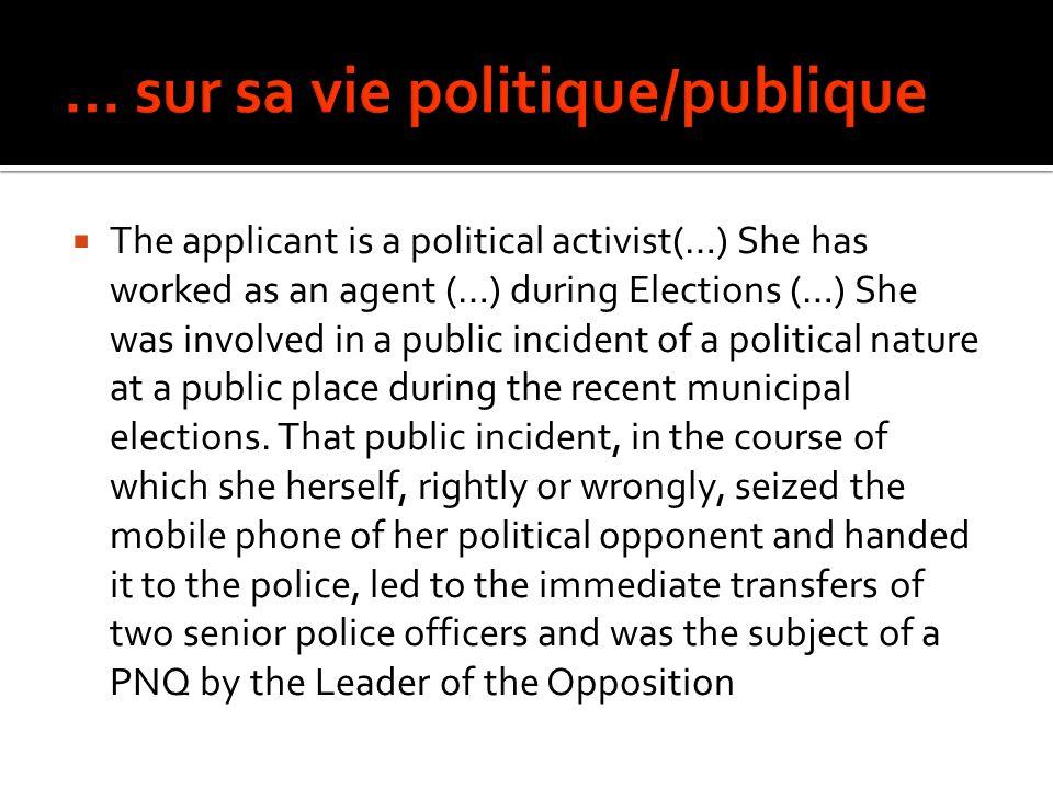 … sur sa vie politique/publique