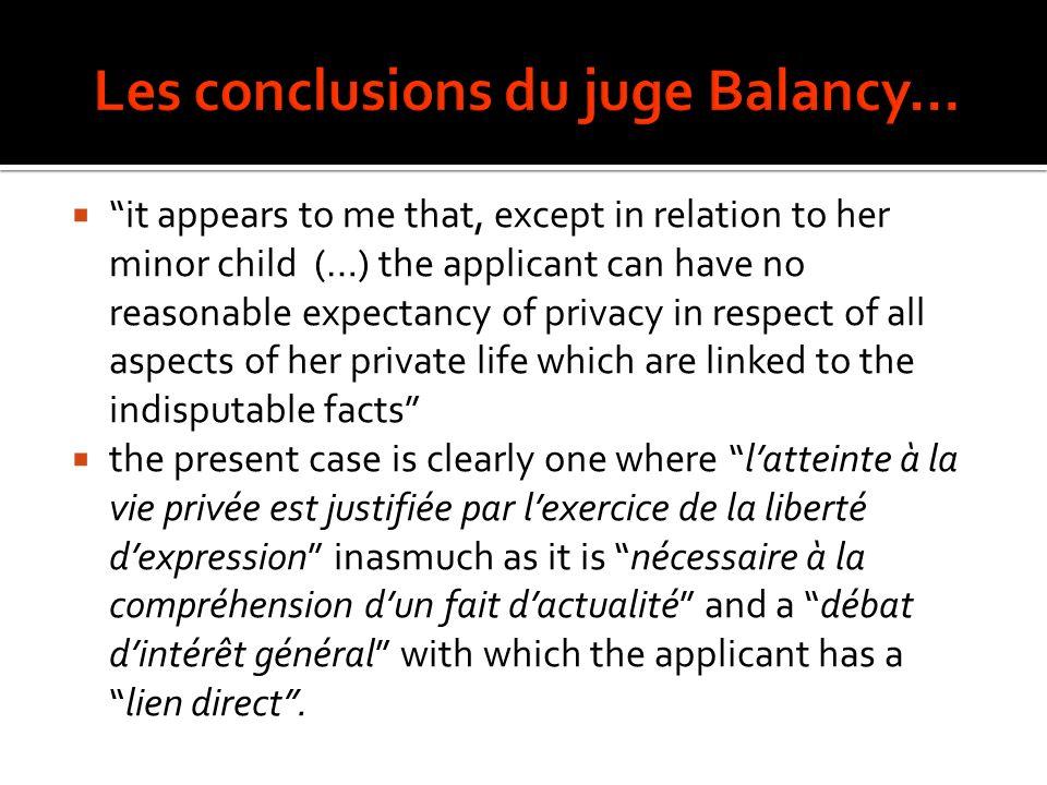 Les conclusions du juge Balancy…