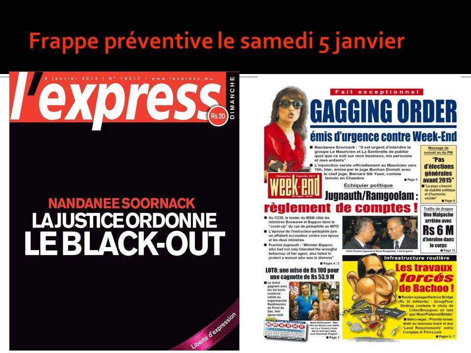 Frappe préventive le samedi 5 janvier