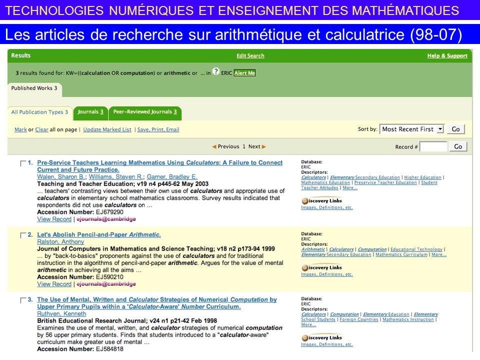 Les articles de recherche sur arithmétique et calculatrice (98-07)