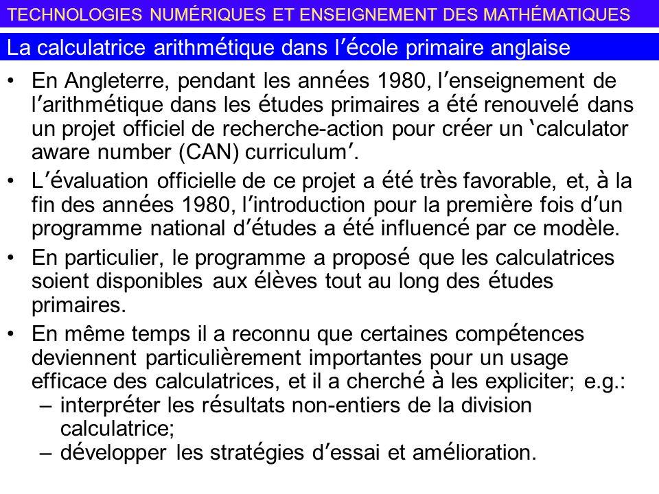 La calculatrice arithmétique dans l'école primaire anglaise
