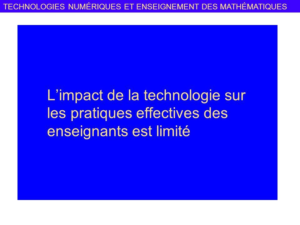 L'impact de la technologie sur les pratiques effectives des enseignants est limité
