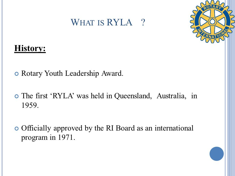 What is RYLA History: Rotary Youth Leadership Award.