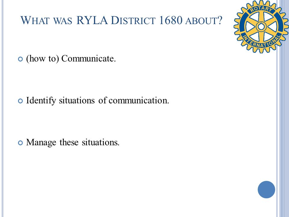 What was RYLA District 1680 about