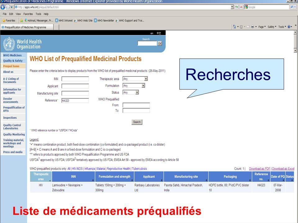 Recherches Liste de médicaments préqualifiés