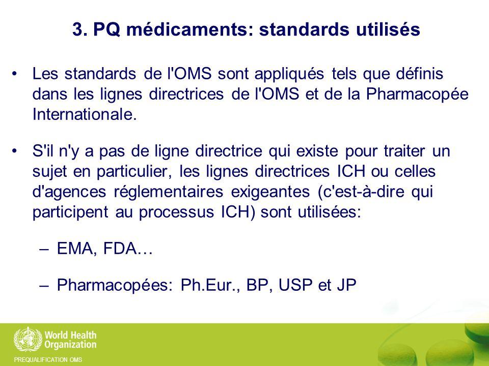 3. PQ médicaments: standards utilisés