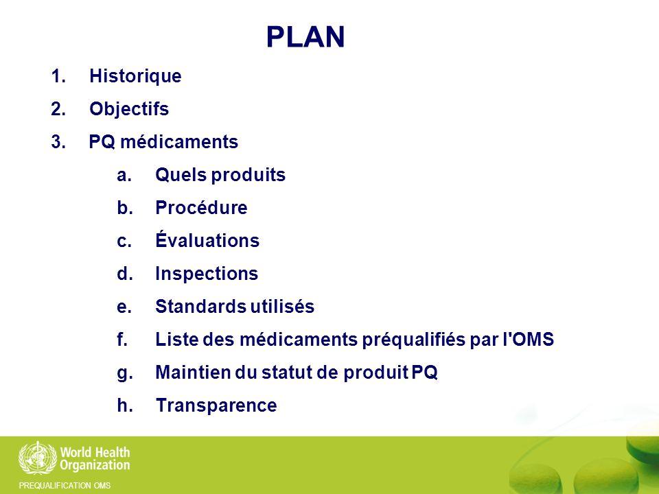 PLAN 1. Historique 2. Objectifs 3. PQ médicaments Quels produits
