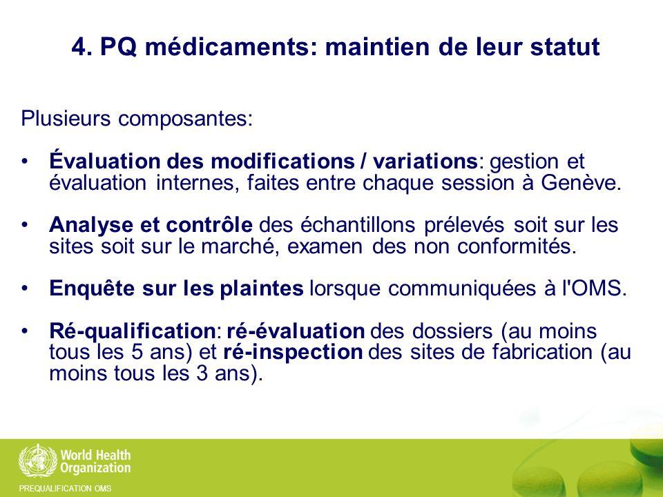 4. PQ médicaments: maintien de leur statut