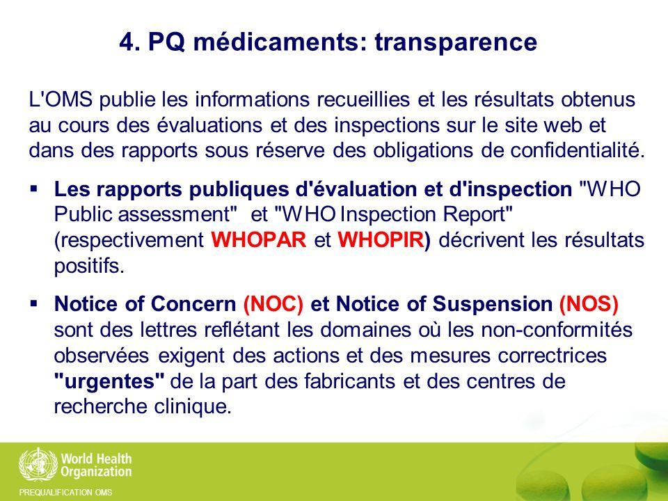 4. PQ médicaments: transparence