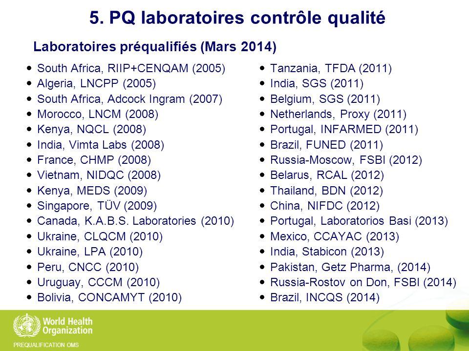 Laboratoires préqualifiés (Mars 2014)