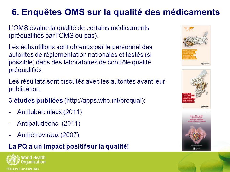 6. Enquêtes OMS sur la qualité des médicaments