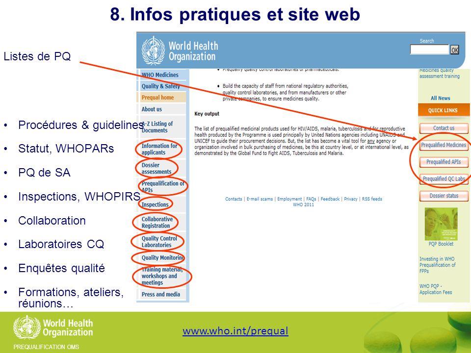 8. Infos pratiques et site web