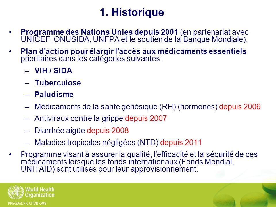 1. Historique Programme des Nations Unies depuis 2001 (en partenariat avec UNICEF, ONUSIDA, UNFPA et le soutien de la Banque Mondiale).