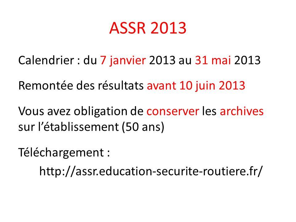 ASSR 2013 Calendrier : du 7 janvier 2013 au 31 mai 2013