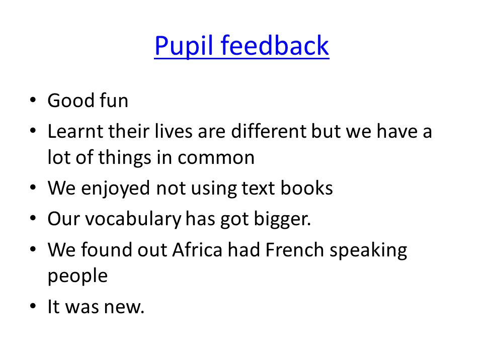 Pupil feedback Good fun