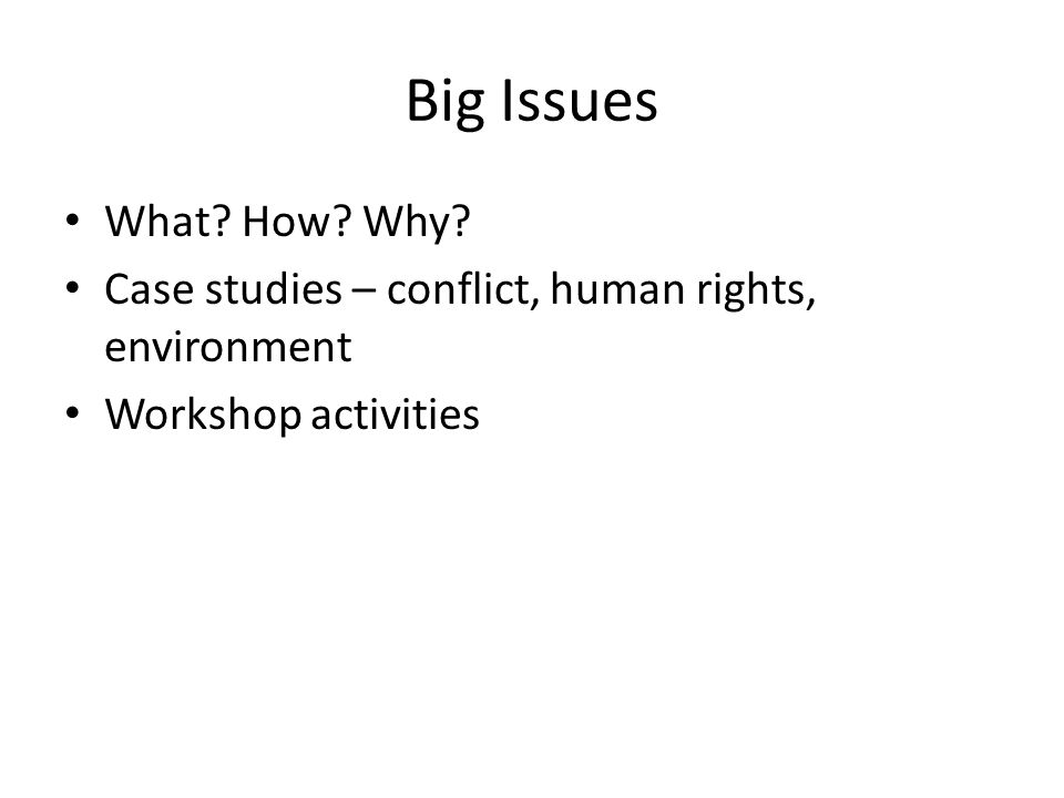 Big Issues What How Why Case studies – conflict, human rights, environment. Workshop activities.