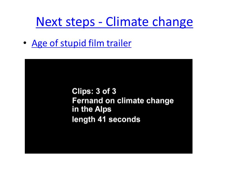 Next steps - Climate change