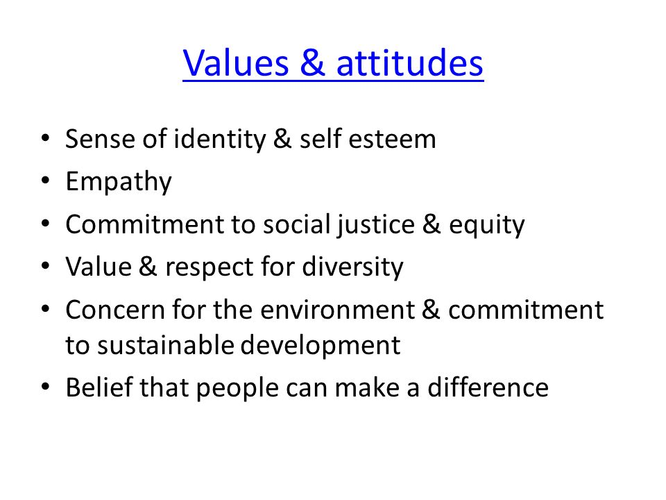 Values & attitudes Sense of identity & self esteem Empathy
