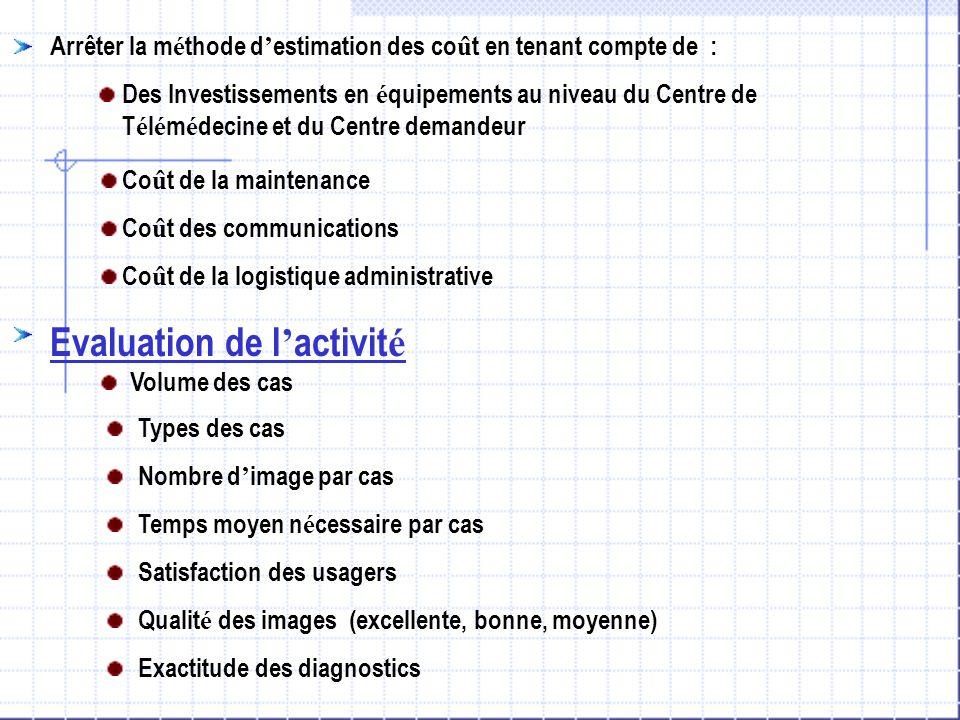 Evaluation de l'activité