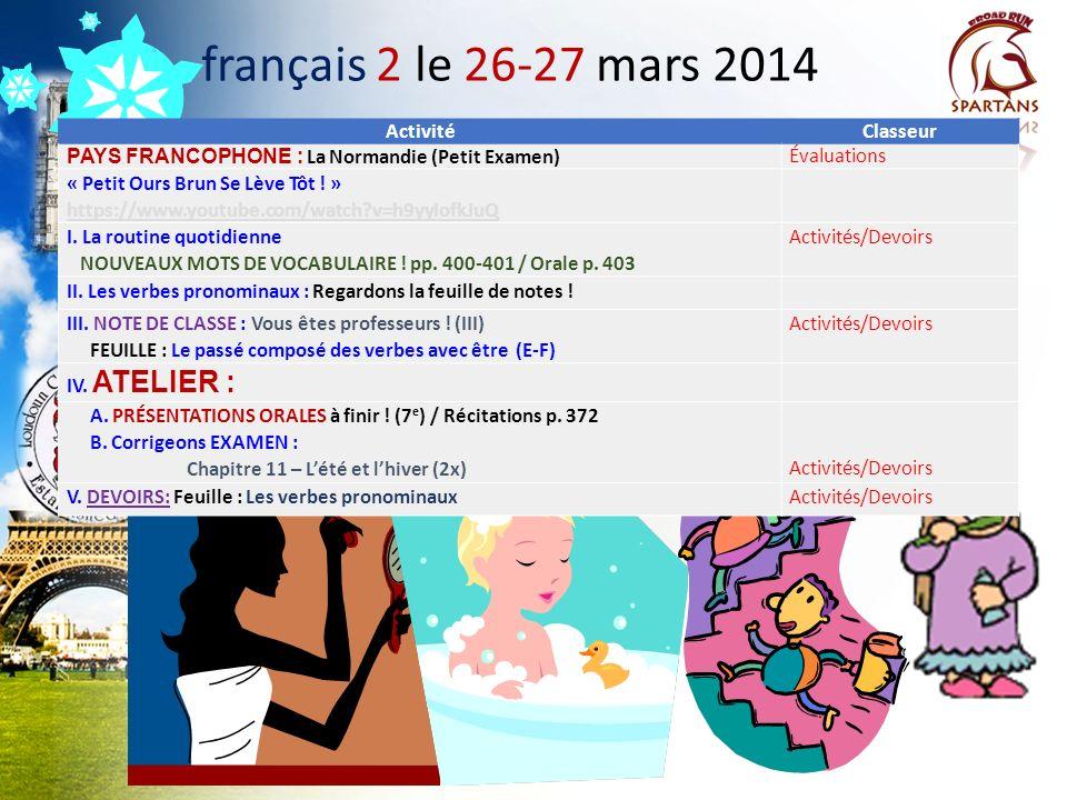 français 2 le 26-27 mars 2014 Activité Classeur