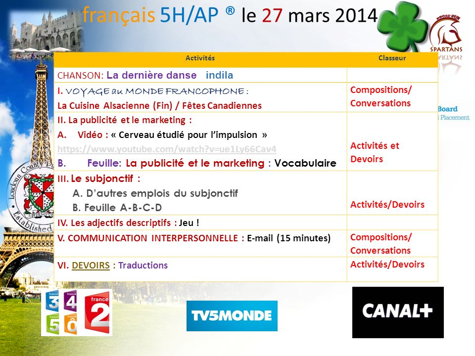français 5H/AP ® le 27 mars 2014 CHANSON: La dernière danse indila