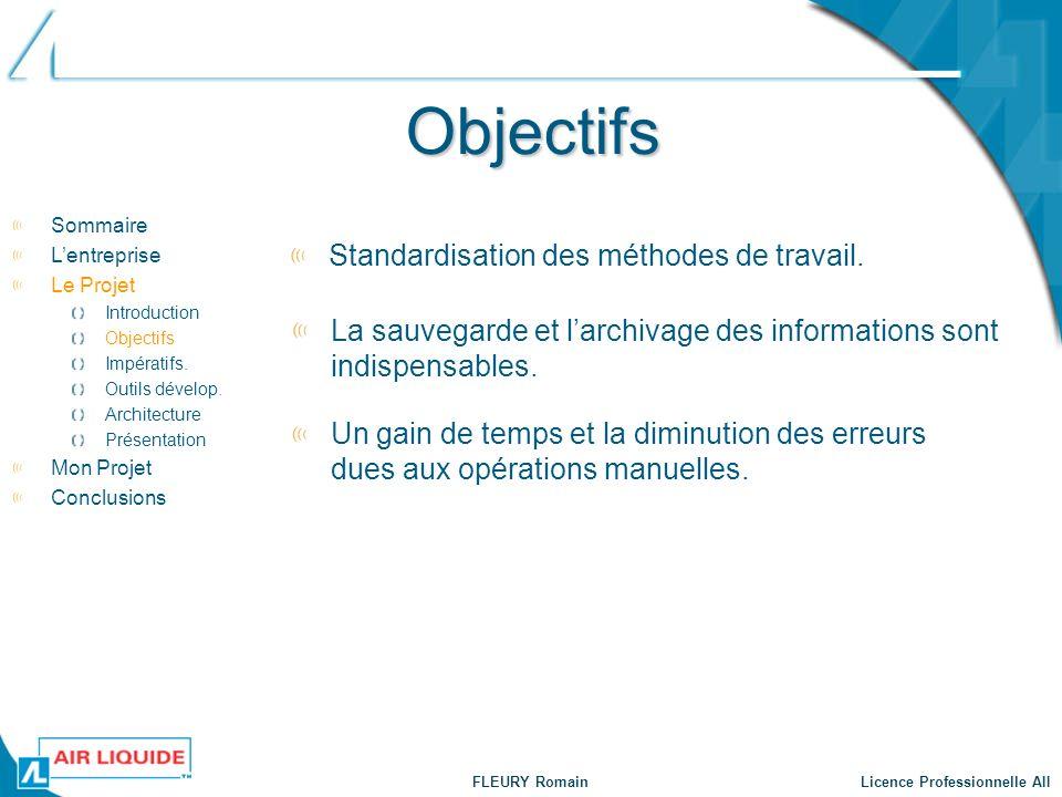 Objectifs Standardisation des méthodes de travail.