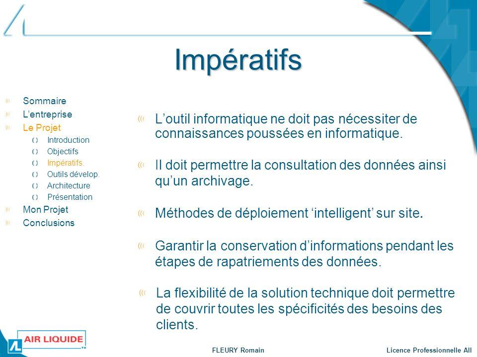 Impératifs Sommaire. L'entreprise. Le Projet. Introduction. Objectifs. Impératifs. Outils dévelop.