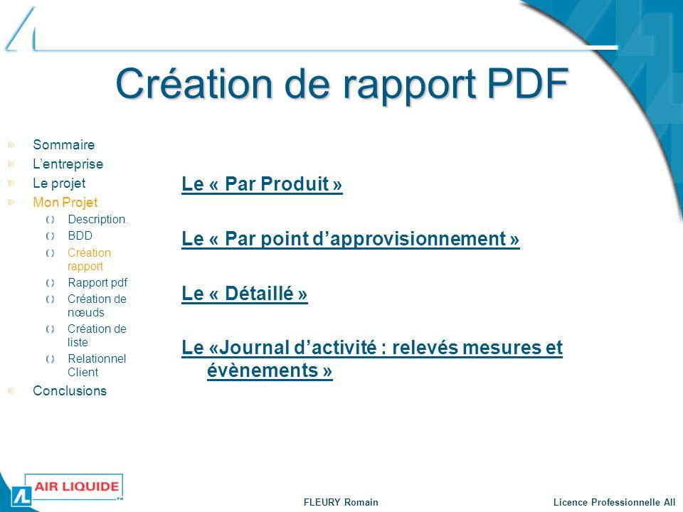 Création de rapport PDF