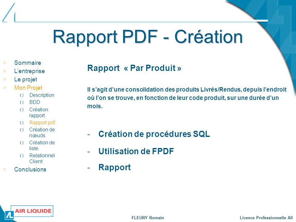 Rapport PDF - Création Rapport « Par Produit »