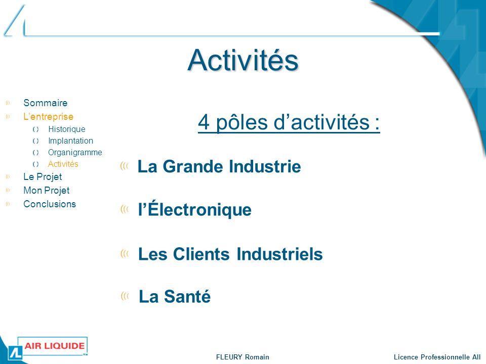 Activités 4 pôles d'activités : La Grande Industrie l'Électronique