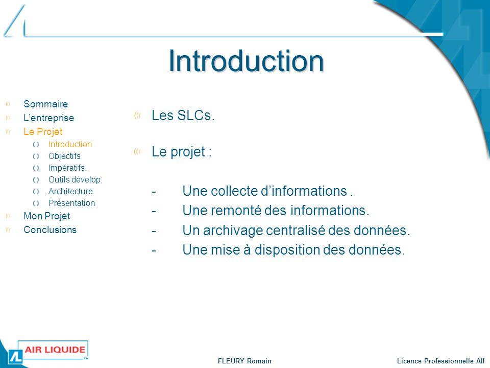 Introduction Les SLCs. Le projet : - Une collecte d'informations .