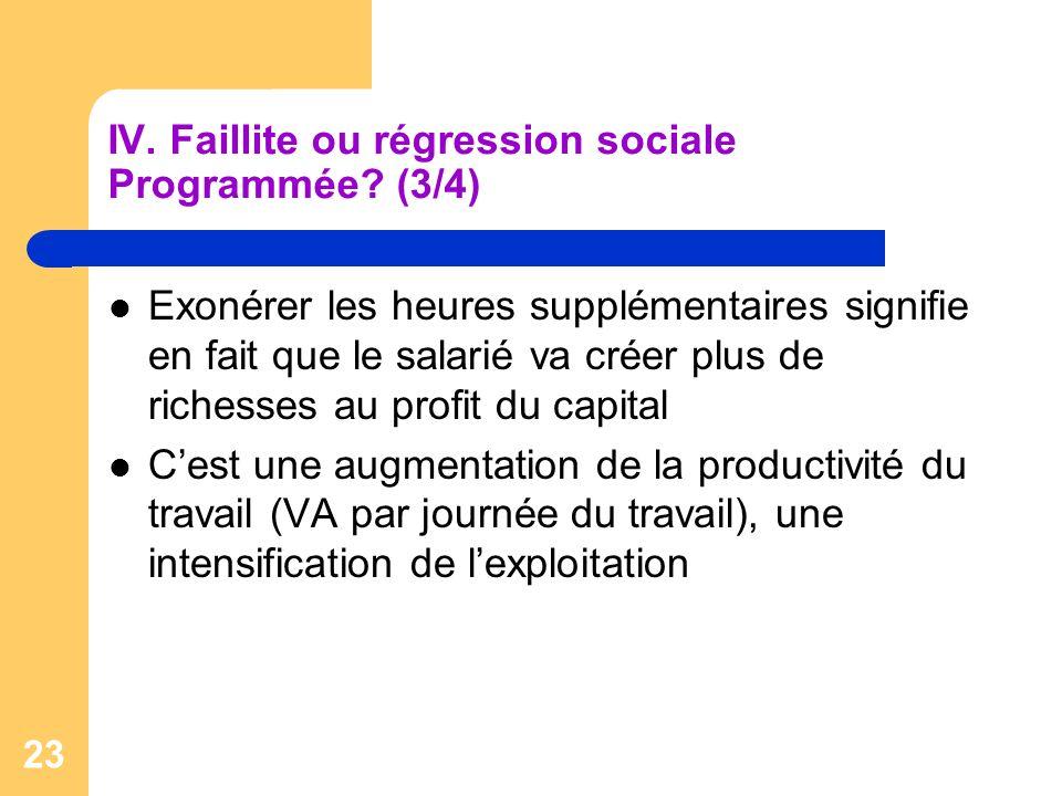 IV. Faillite ou régression sociale Programmée (3/4)