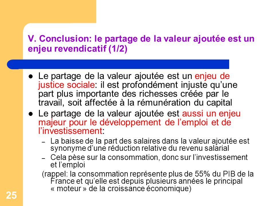 V. Conclusion: le partage de la valeur ajoutée est un enjeu revendicatif (1/2)