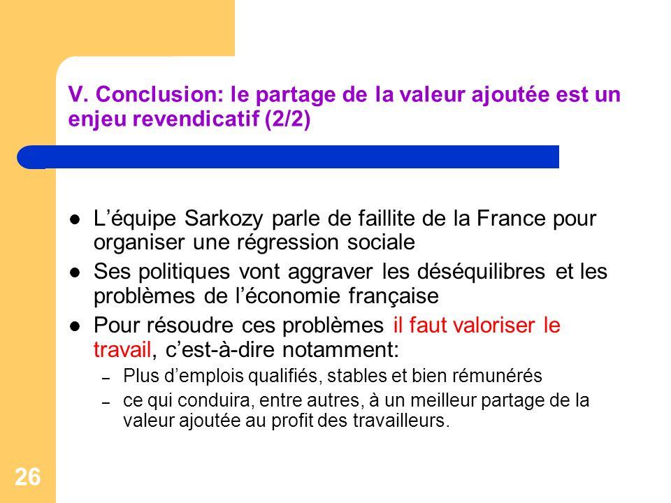 V. Conclusion: le partage de la valeur ajoutée est un enjeu revendicatif (2/2)