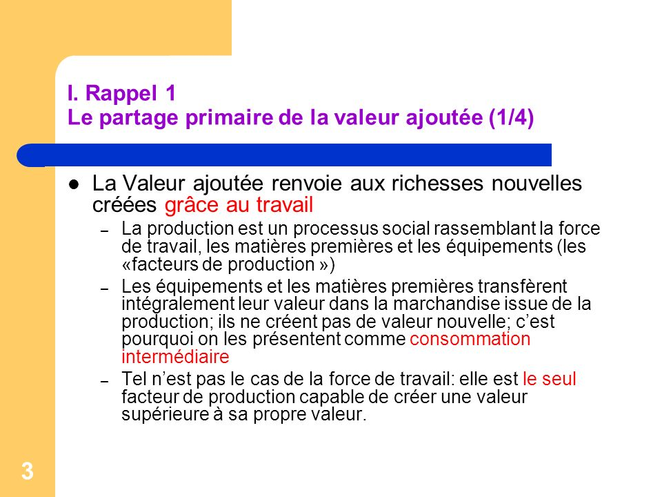 I. Rappel 1 Le partage primaire de la valeur ajoutée (1/4)