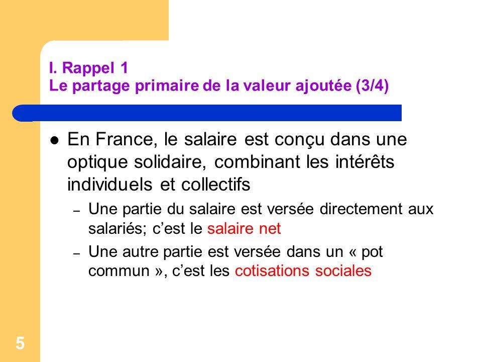 I. Rappel 1 Le partage primaire de la valeur ajoutée (3/4)