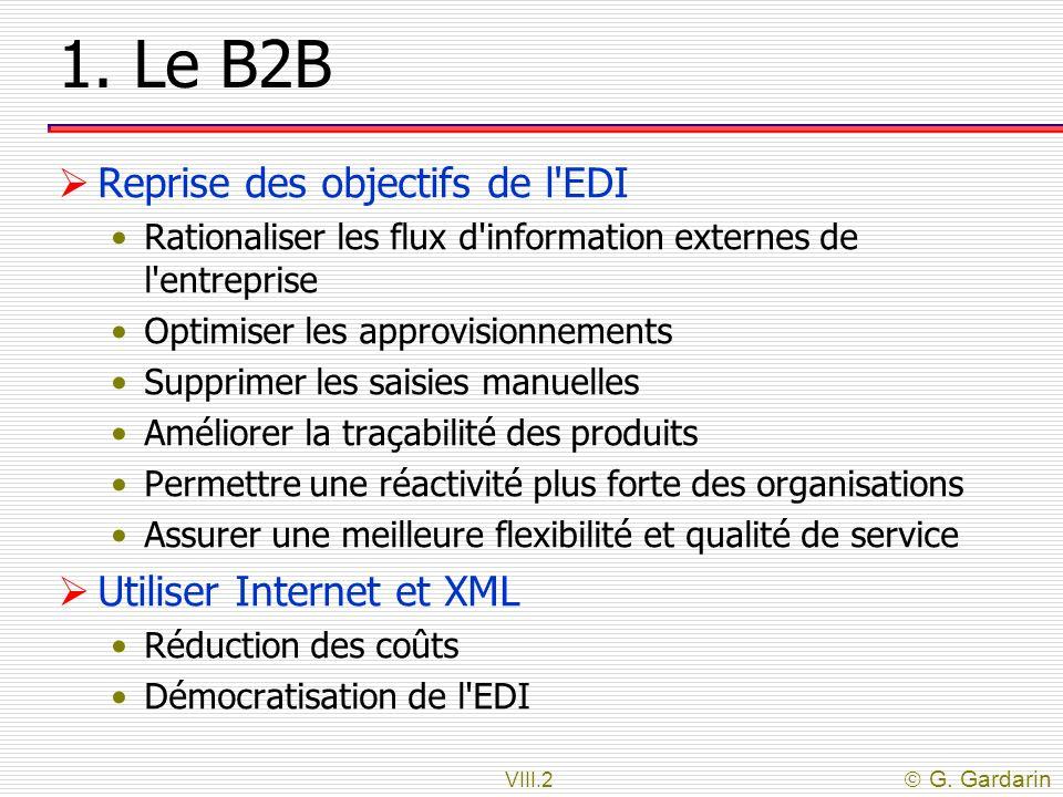 1. Le B2B Reprise des objectifs de l EDI Utiliser Internet et XML