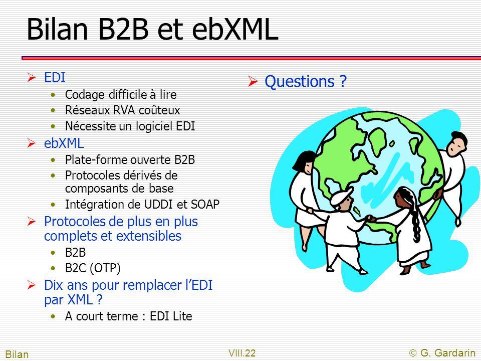 Bilan B2B et ebXML Questions EDI ebXML