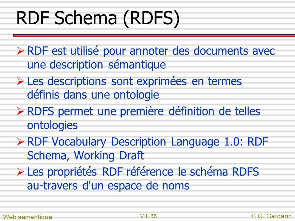 RDF Schema (RDFS) RDF est utilisé pour annoter des documents avec une description sémantique.