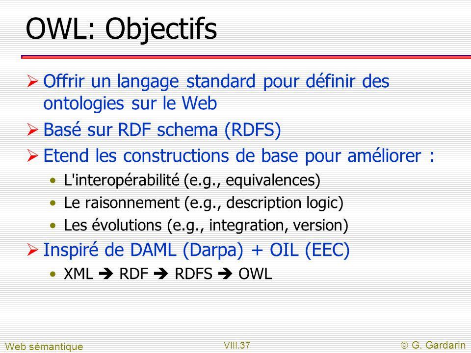 OWL: Objectifs Offrir un langage standard pour définir des ontologies sur le Web. Basé sur RDF schema (RDFS)