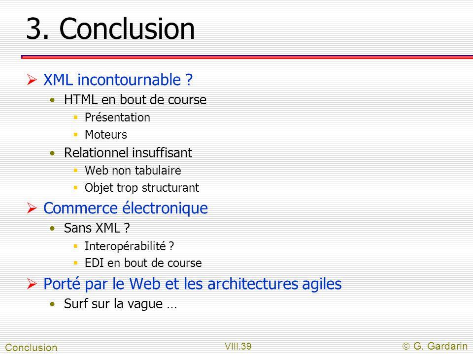 3. Conclusion XML incontournable Commerce électronique