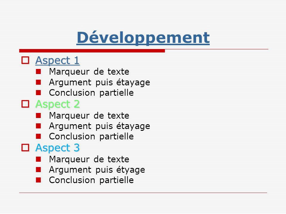 Développement Aspect 1 Aspect 2 Aspect 3 Marqueur de texte