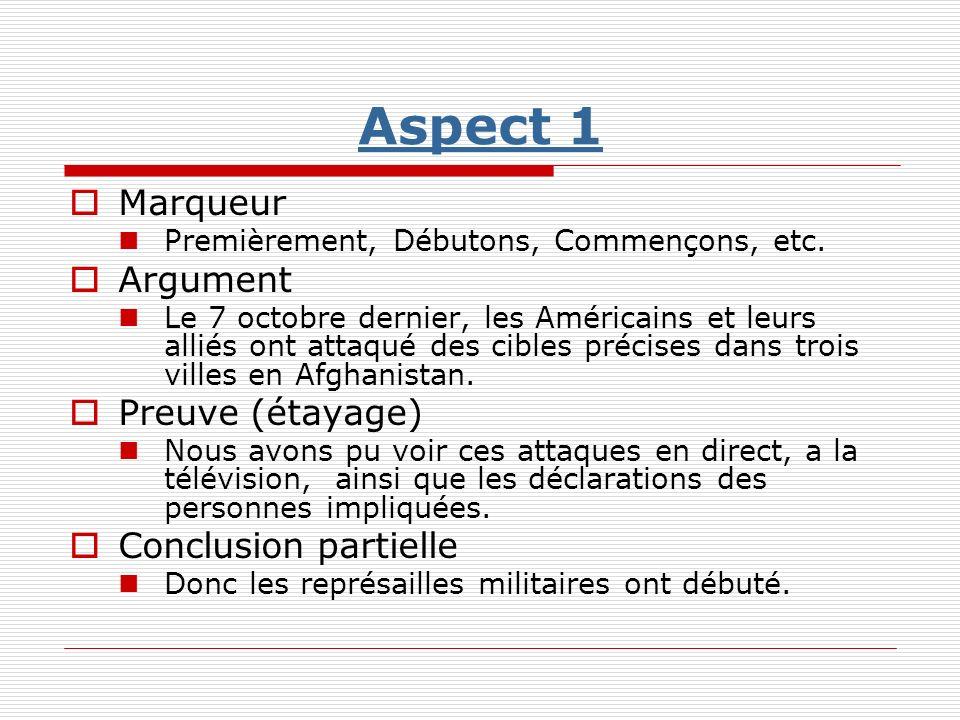 Aspect 1 Marqueur Argument Preuve (étayage) Conclusion partielle