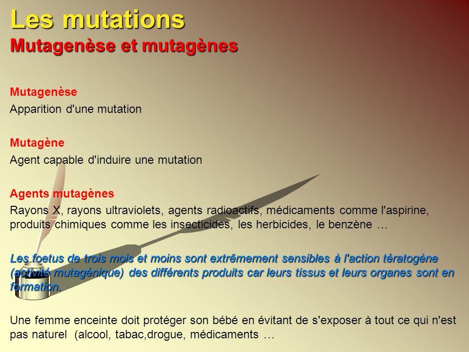 Les mutations Mutagenèse et mutagènes