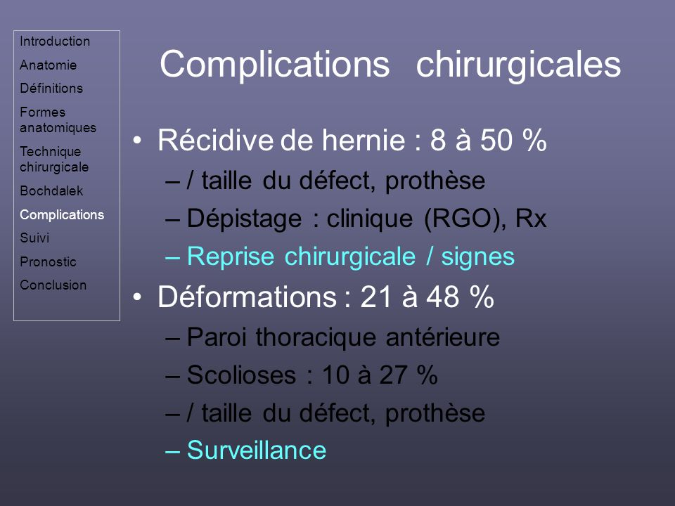 Complications chirurgicales